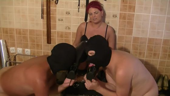 Goddess Andreea and 2 toilets slaves in her dungeon