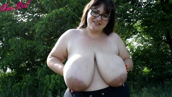 BBW huge boobs playing outdoors