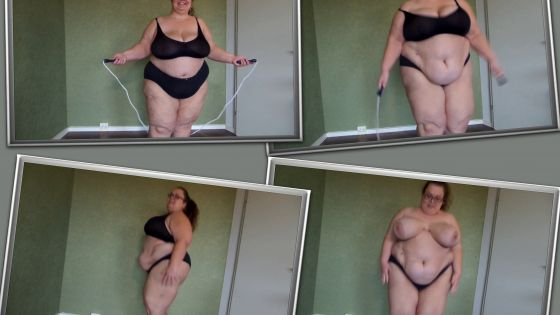 SSBBW rope jumping