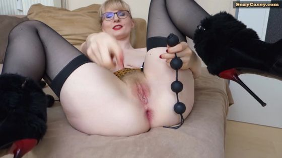 Anal beads insertion 4 balls deep