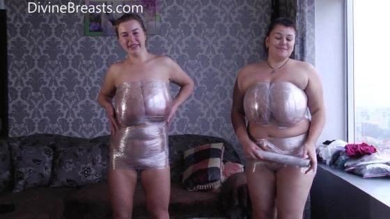 Ashley and Monica Breasts in Plastic Wrap