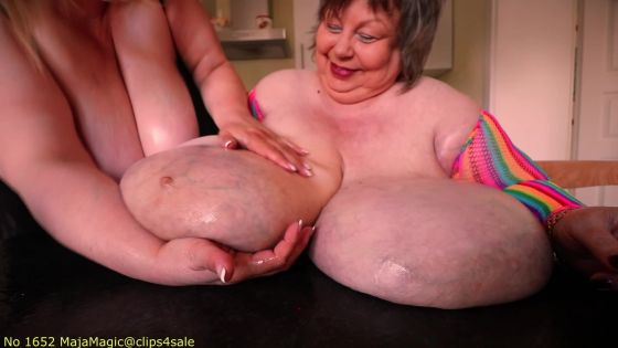 Maja meets Karola Part 154 - Oily Giant Rainbow Boobs 2