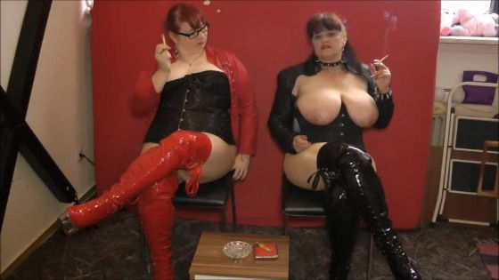 2 buxom smoking mares for pussy licking wixxer looser (weighting instructions) !!