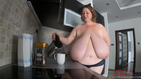 Busty neighbourg makes you a coffee after good fuck