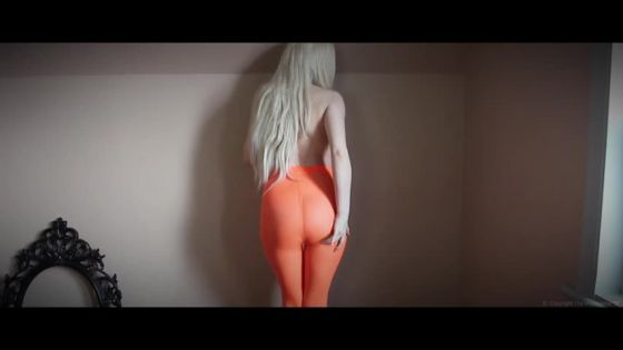 M Blonde In Orange Tights Pantyhose Farts