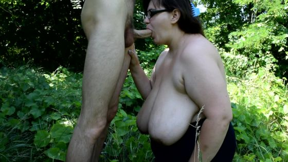 blowjob in the forest and boob shaking