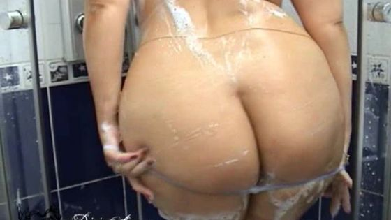 Big Butt Babe in the Shower with Dildo